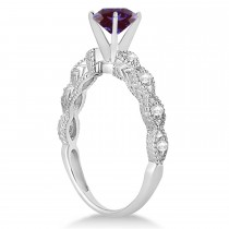 Vintage Style Alexandrite & Diamond Engagement Ring in 14k White Gold (1.18ct)