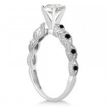 Petite Marquise Black Diamond Engagement Ring Platinum (0.10ct)