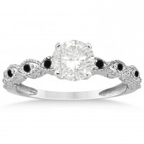 Antique Petite Black Diamond Bridal Ring Set 18k White Gold (0.20ct)