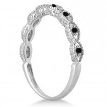Antique Petite Black Diamond Bridal Ring Set Palladium (0.20ct)