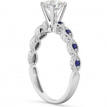 Vintage Marquise Blue Sapphire Engagement Ring 18k White Gold (0.18ct)