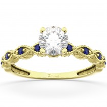 Vintage Marquise Blue Sapphire Engagement Ring 18k Yellow Gold (0.18ct)
