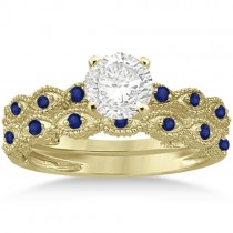 Antique Blue Sapphire Engagement Ring Set 18k Yellow Gold (0.36ct)
