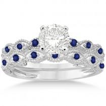 Antique Pave Blue Sapphire Engagement Ring Set Platinum (0.36ct)