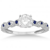 Antique Pave Blue Sapphire Engagement Ring Set Platinum (0.36ct)