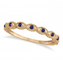 Antique Marquise Shape Blue Sapphire Wedding Ring 14k Rose Gold (0.18ct)