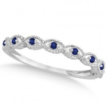 Antique Marquise Shape Blue Sapphire Wedding Ring 18k White Gold (0.18ct)
