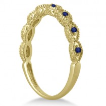 Antique Marquise Shape Blue Sapphire Wedding Ring 18k Yellow Gold (0.18ct)