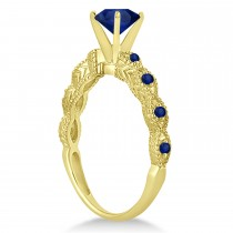 Vintage Style Blue Sapphire Engagement Ring in 18k Yellow Gold (1.18ct)