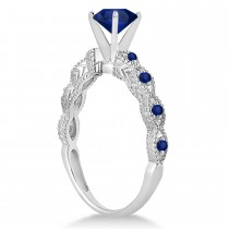 Vintage Style Blue Sapphire Engagement Ring in Platinum (1.18ct)