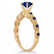 Vintage Blue Sapphire Engagement Ring Bridal Set 18k Rose Gold 1.36ct
