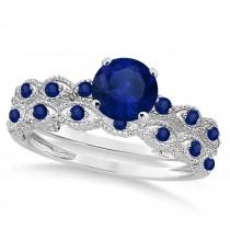 Vintage Blue Sapphire Engagement Ring Bridal Set Platinum 1.36ct