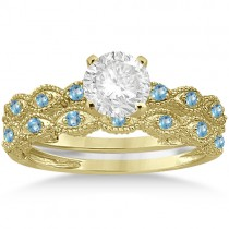 Antique Blue Topaz Bridal Set Marquise Shape 14K Yellow Gold 0.36ct