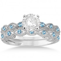 Antique Blue Topaz Bridal Set Marquise Shape 18K White Gold 0.36ct