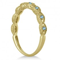 Antique Marquise Shape Blue Topaz Wedding Ring 18k Yellow Gold (0.18ct)