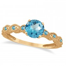 Vintage Style Blue Topaz Engagement Ring 14k Rose Gold (1.18ct)