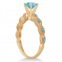 Vintage Style Blue Topaz Engagement Ring 18k Rose Gold (1.18ct)