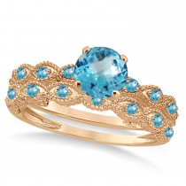 Vintage Blue Topaz Engagement Ring Bridal Set 14k Rose Gold 1.36ct