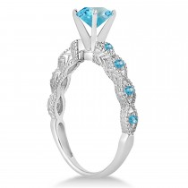 Vintage Blue Topaz Engagement Ring Bridal Set 18k White Gold 1.36ct