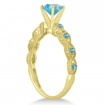 Vintage Blue Topaz Engagement Ring Bridal Set 18k Yellow Gold 1.36ct