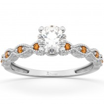 Vintage Marquise Citrine Engagement Ring 18k White Gold (0.18ct)