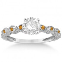 Vintage Marquise Citrine Engagement Ring Palladium (0.18ct)