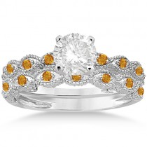 Antique Citrine Bridal Set Marquise Shape 18K White Gold 0.36ct