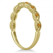 Antique Marquise Shape Citrine Wedding Ring 14k Yellow Gold (0.18ct)