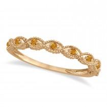 Antique Marquise Shape Citrine Wedding Ring 18k Rose Gold (0.18ct)