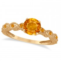 Vintage Style Citrine Engagement Ring 14k Rose Gold (1.18ct)