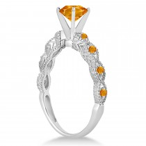 Vintage Style Citrine Engagement Ring 14k White Gold (1.18ct)