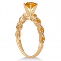 Vintage Citrine Engagement Ring Bridal Set 14k Rose Gold 1.36ct