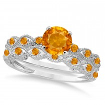 Vintage Citrine Engagement Ring Bridal Set 14k White Gold 1.36ct