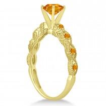 Vintage Citrine Engagement Ring Bridal Set 14k Yellow Gold 1.36ct