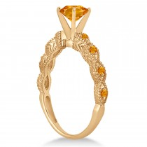 Vintage Citrine Engagement Ring Bridal Set 18k Rose Gold 1.36ct