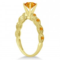 Vintage Citrine Engagement Ring Bridal Set 18k Yellow Gold 1.36ct