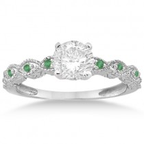 Vintage Marquise Emerald Engagement Ring 18k White Gold (0.18ct)