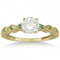 Antique Emerald Engagement Ring & Wedding Band 18k Yellow Gold (0.36ct)