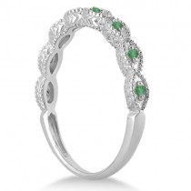 Antique Marquise Shape Emerald Wedding Ring 18k White Gold (0.18ct)