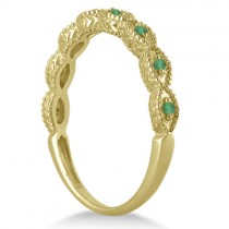 Antique Marquise Shape Emerald Wedding Ring 18k Yellow Gold (0.18ct)