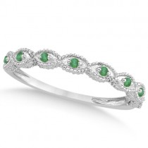 Antique Marquise Shape Pave Emerald Wedding Ring Platinum (0.18ct)