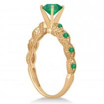 Vintage Style Emerald Engagement Ring 14k Rose Gold (1.18ct)