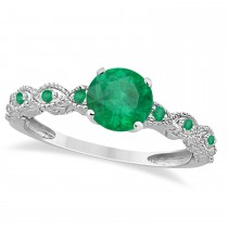 Vintage Style Emerald Engagement Ring 14k White Gold (1.18ct)