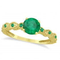 Vintage Style Emerald Engagement Ring 14k Yellow Gold (1.18ct)