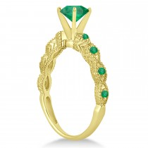Vintage Style Emerald Engagement Ring 18k Yellow Gold (1.18ct)