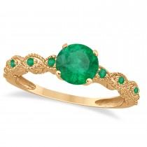 Vintage Emerald Engagement Ring Bridal Set 14k Rose Gold 1.36ct