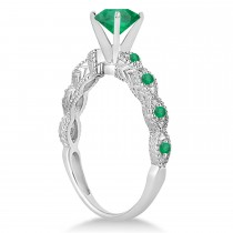 Vintage Emerald Engagement Ring Bridal Set 14k White Gold 1.36ct