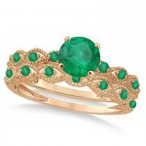 Vintage Emerald Engagement Ring Bridal Set 18k Rose Gold 1.36ct