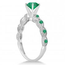 Vintage Emerald Engagement Ring Bridal Set 18k White Gold 1.36ct