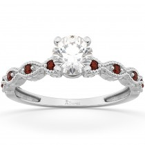 Vintage Marquise Garnet Engagement Ring 14k White Gold (0.18ct)